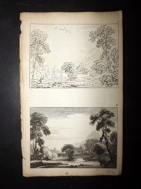 Sayer Compleat Drawing-Book 1757 Antique Print. Study of Landscapes 05